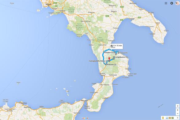 Circuit avec trekking en Calabre, Sud de l'Italie.